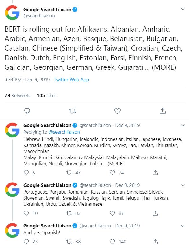Bert Google Tweet 2020