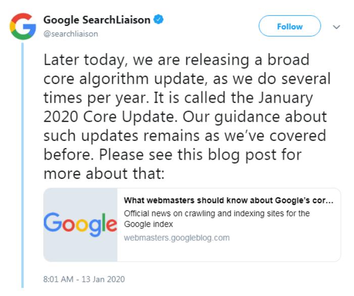 tweet - google search liaison