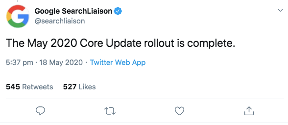 May 2020 Core Update Tweet